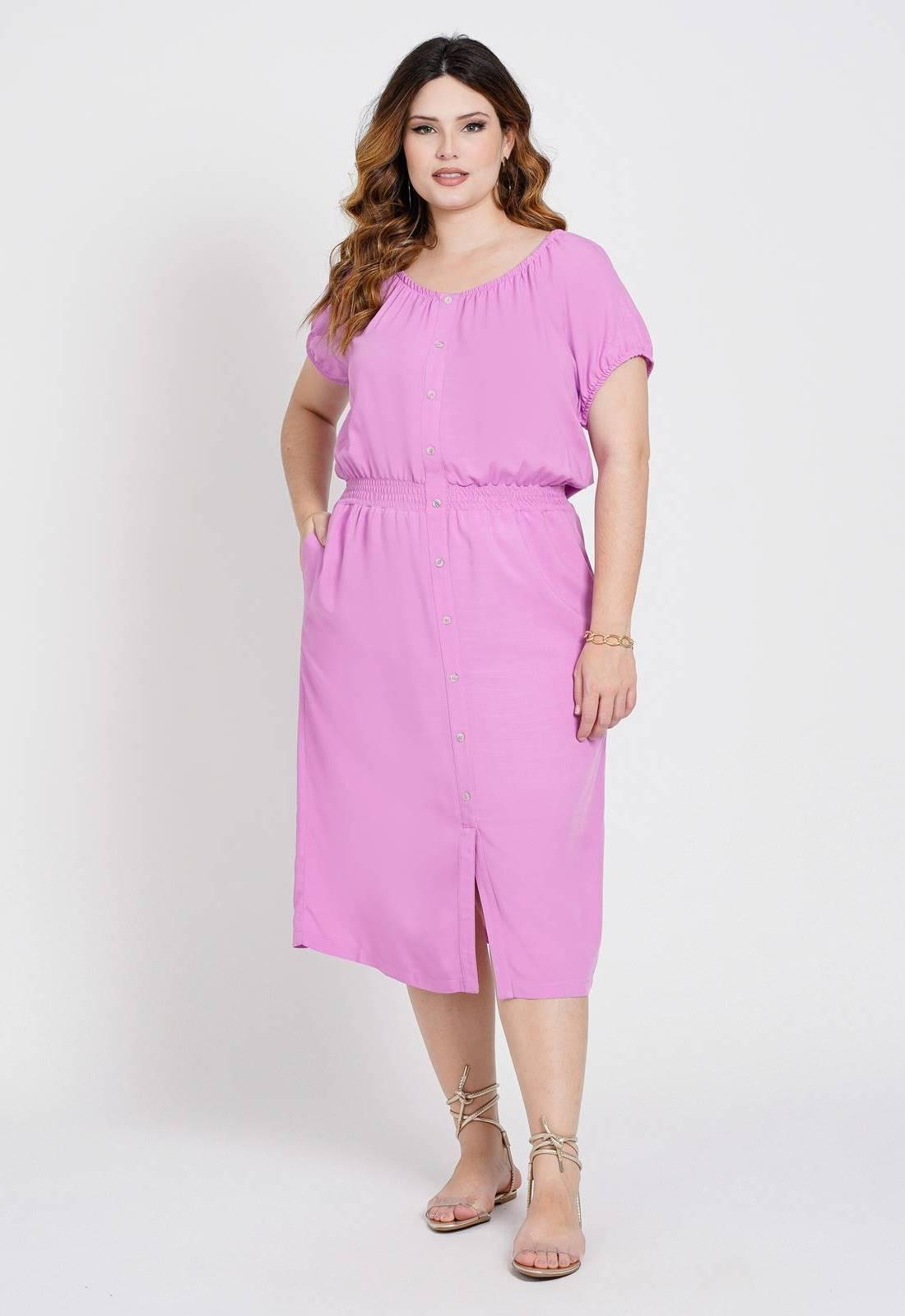 Vestido  midi com elastex Rosa  Ref. U79021