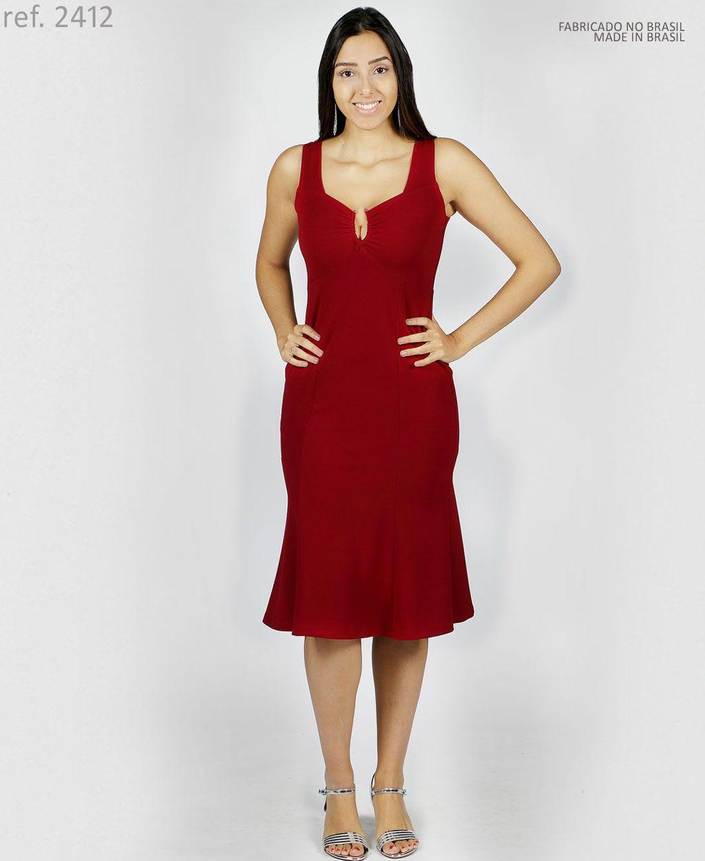 Vestido Midi tubinho de crepe malha Peplum - Ref. 2412