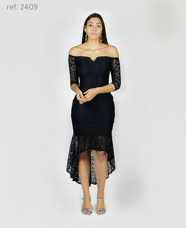 vestido preto com manga