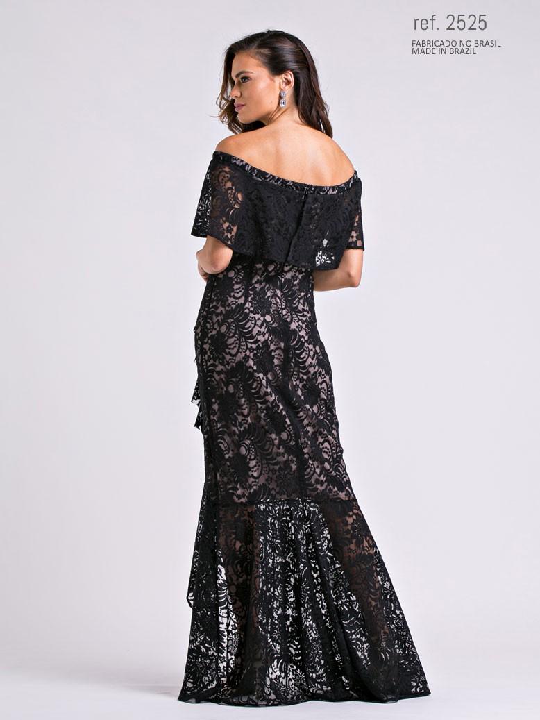 vestido mullet para casamento preto com nude