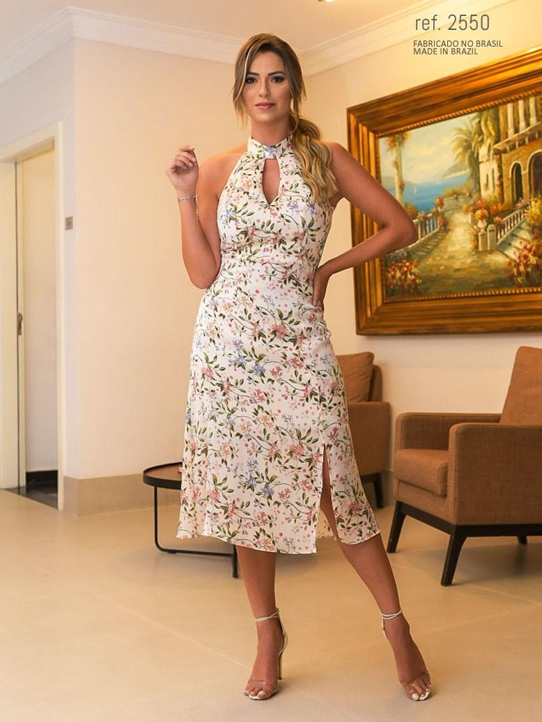 Vestido midi floral ref. 2550 creme