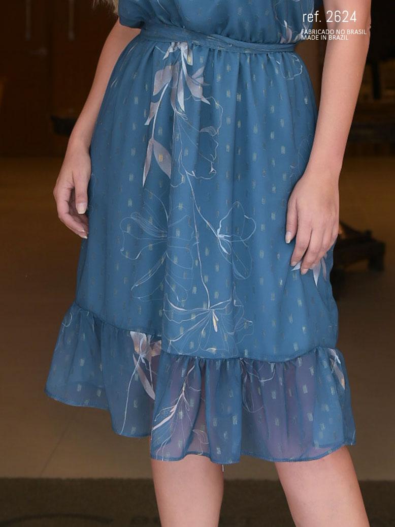 vestido de festa midi estampado azul