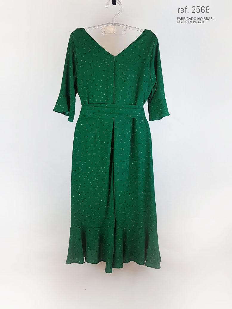 vestido com manga verde