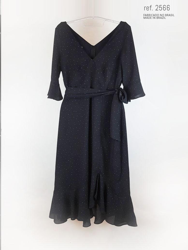 Vestido midi Milano com meia manga ref. 2566 preto