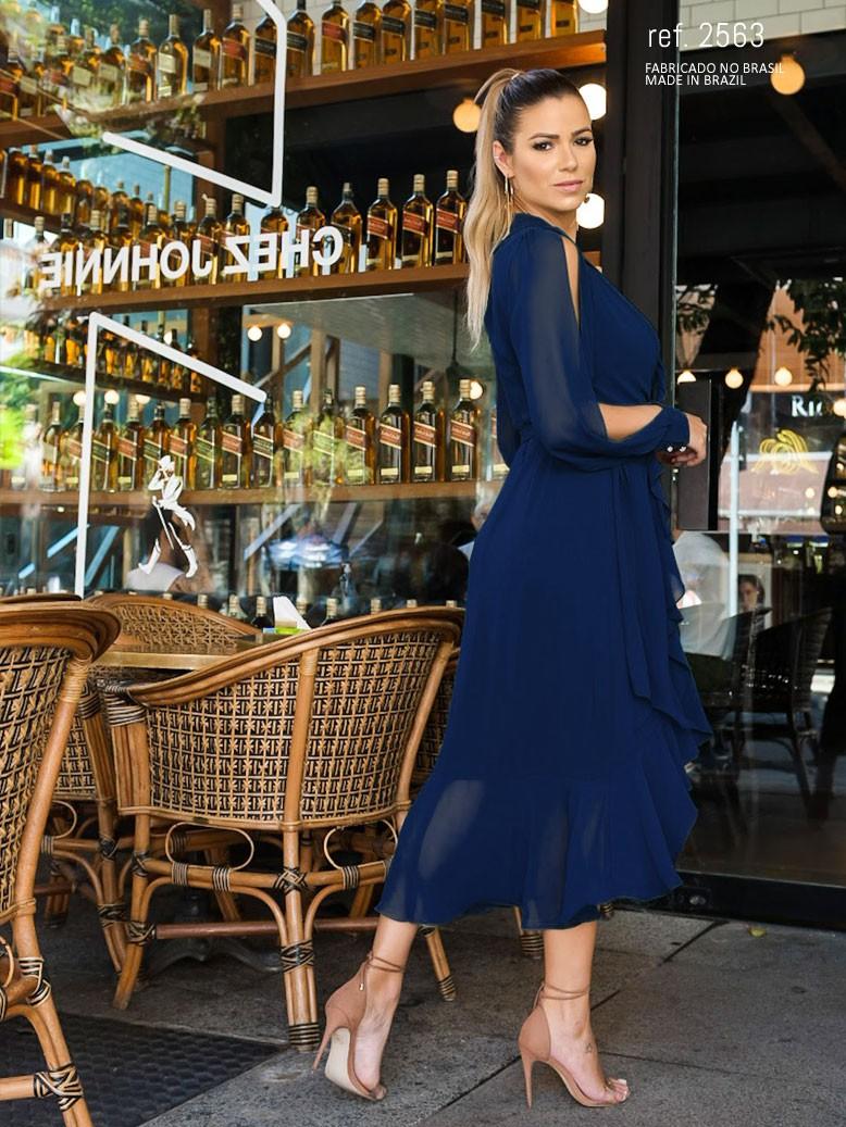 Vestido mullet azul marinho