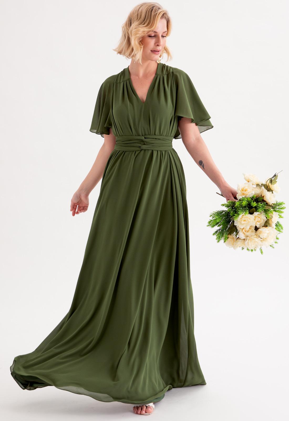 Vestido multi-tamanho de festa verde oliva ref.2593