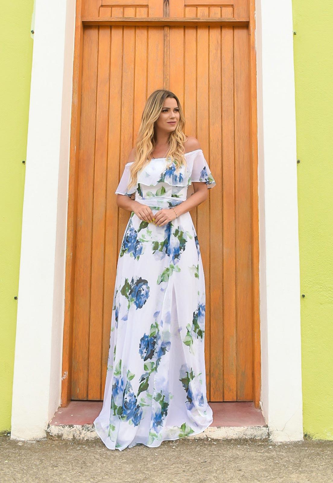 vestido floral longo para festa