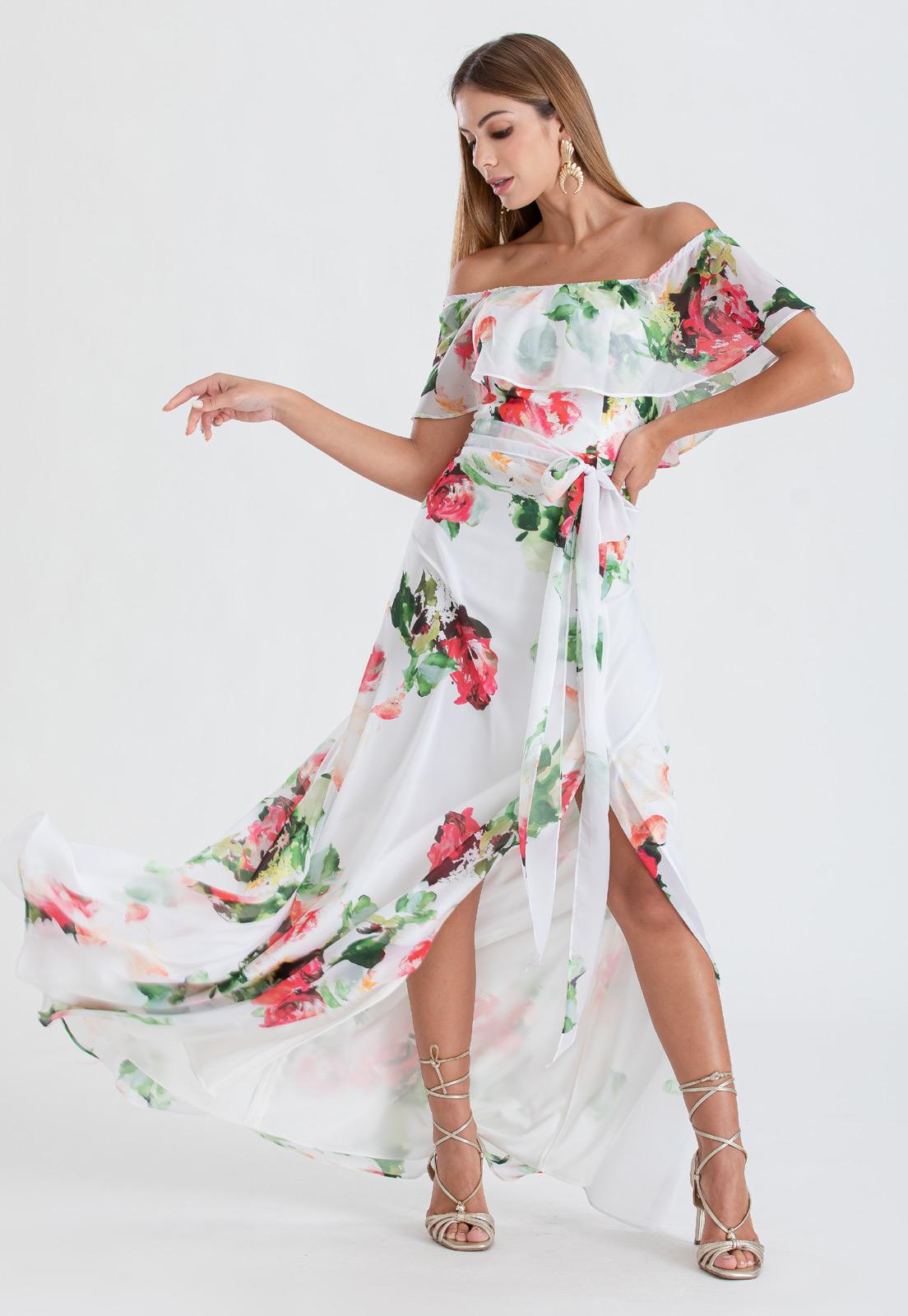 Vestido ombro a ombro floral longo   Ref. 2464