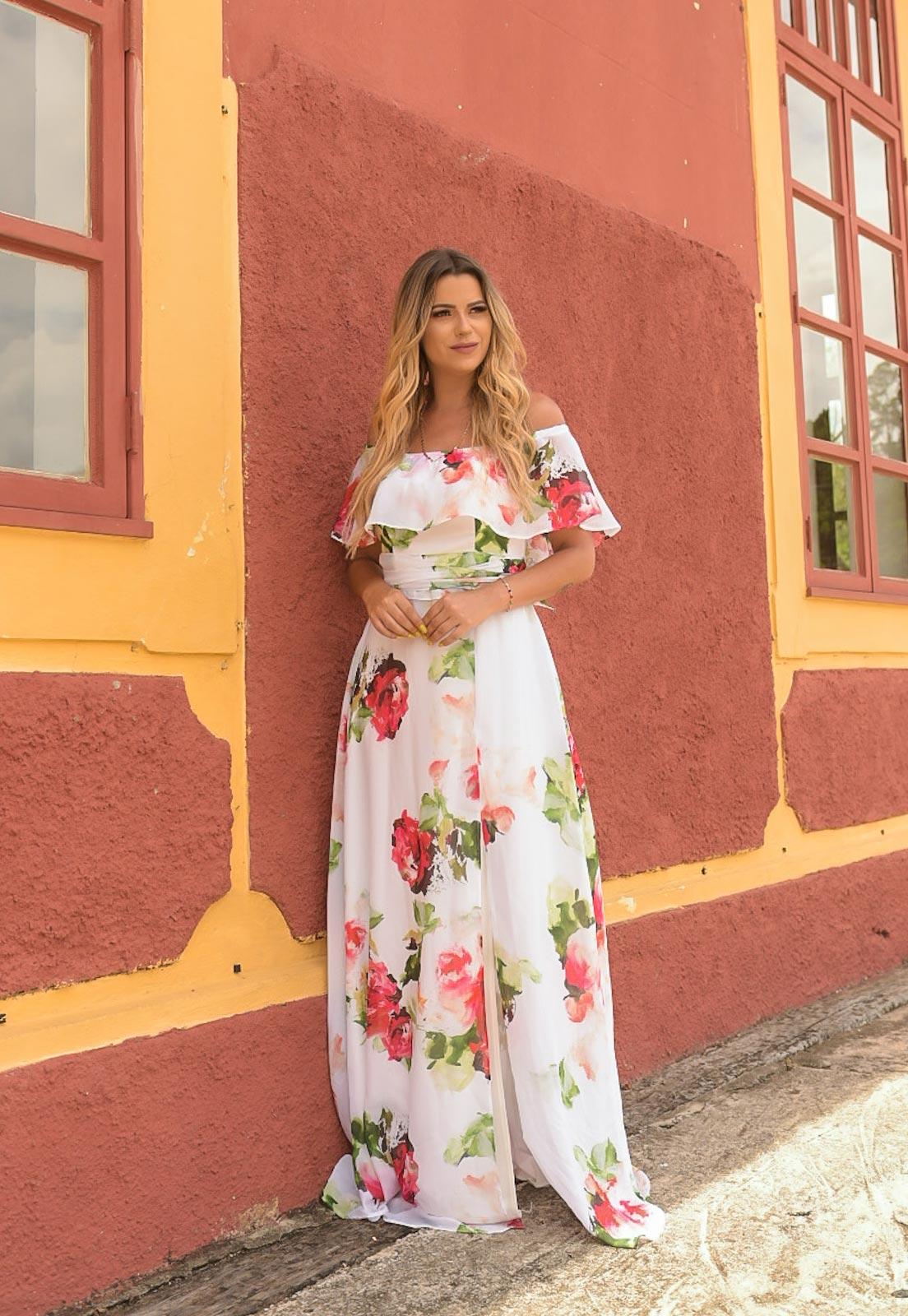 vestido cigana floral vermelho