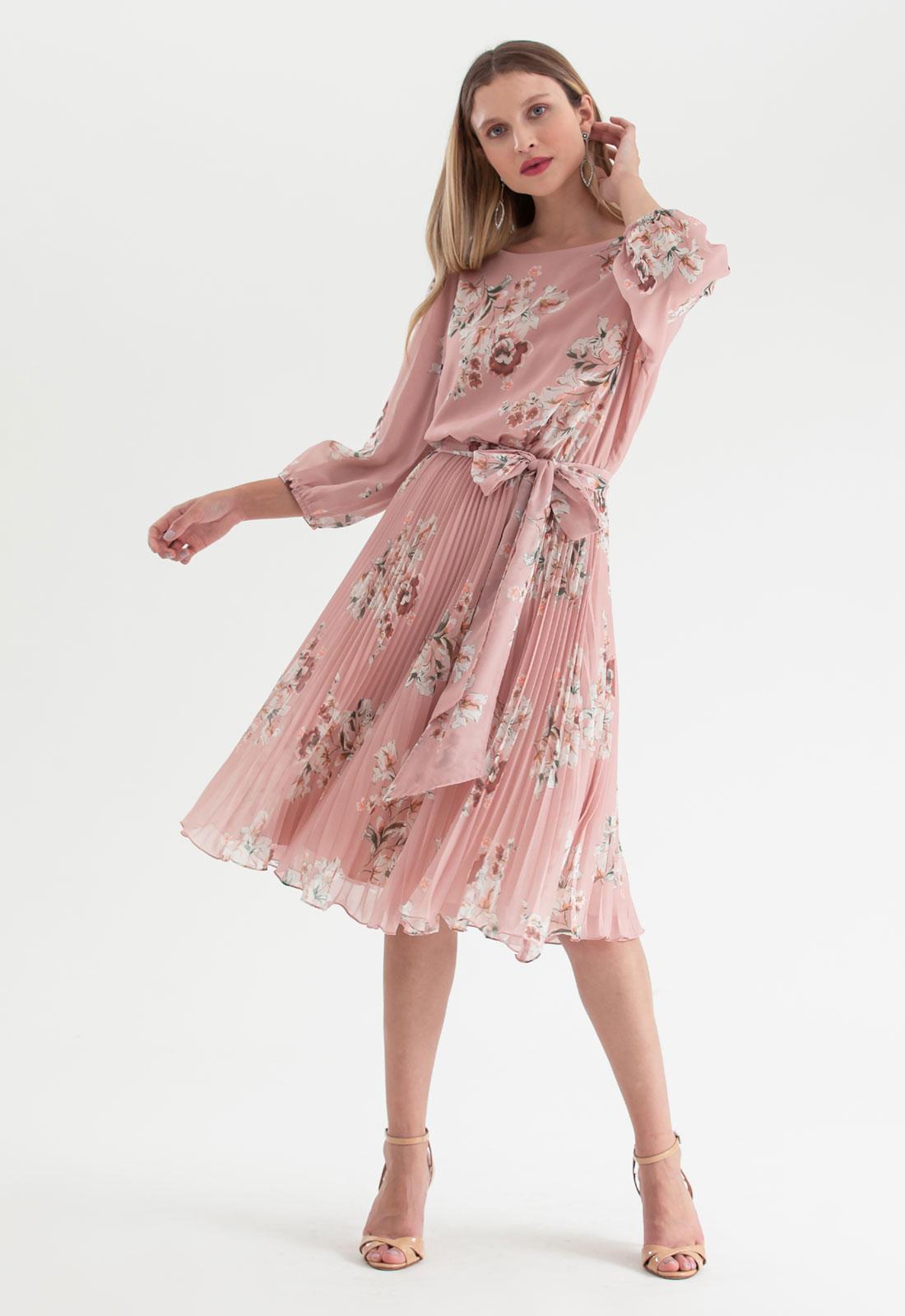 Vestido plissado midi floral Rosa Ref. 2583