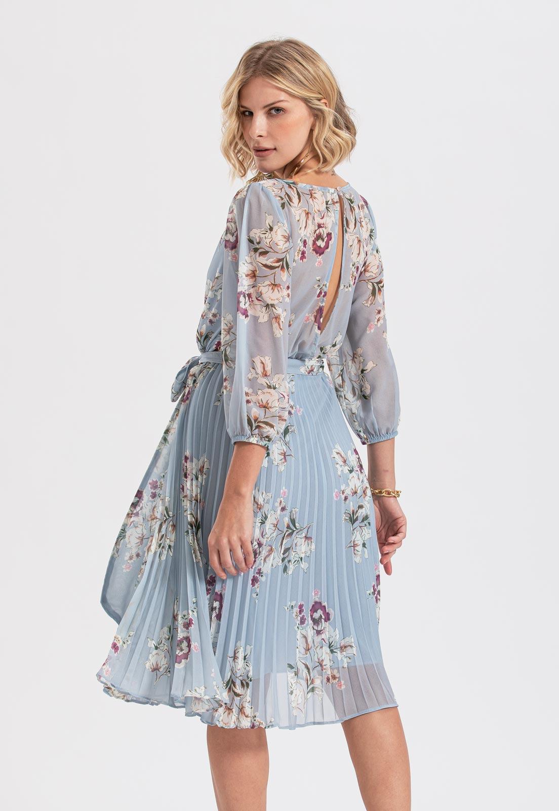 vestido floral azul serenity plissado
