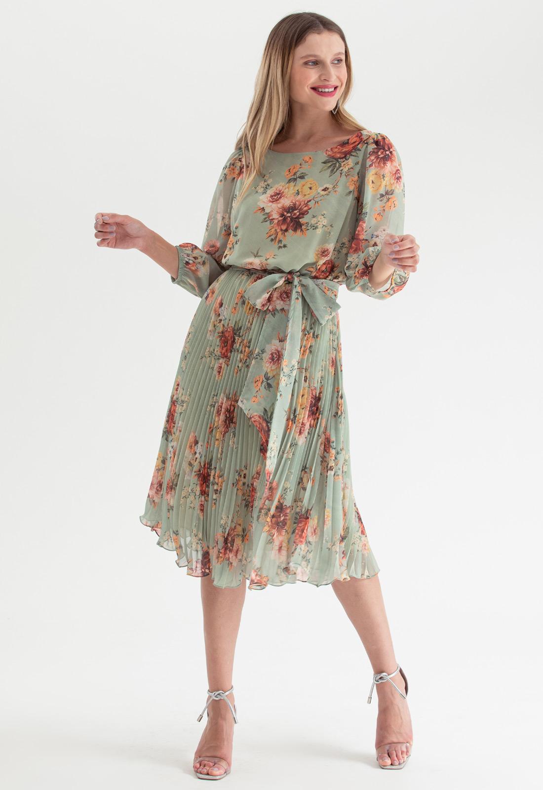 Vestido plissado midi floral Verde oliva Ref. 2583