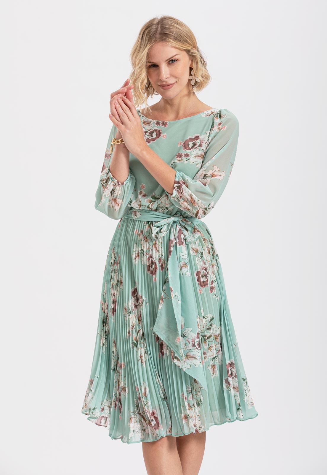 Vestido plissado midi floral Verde Ref. 2583