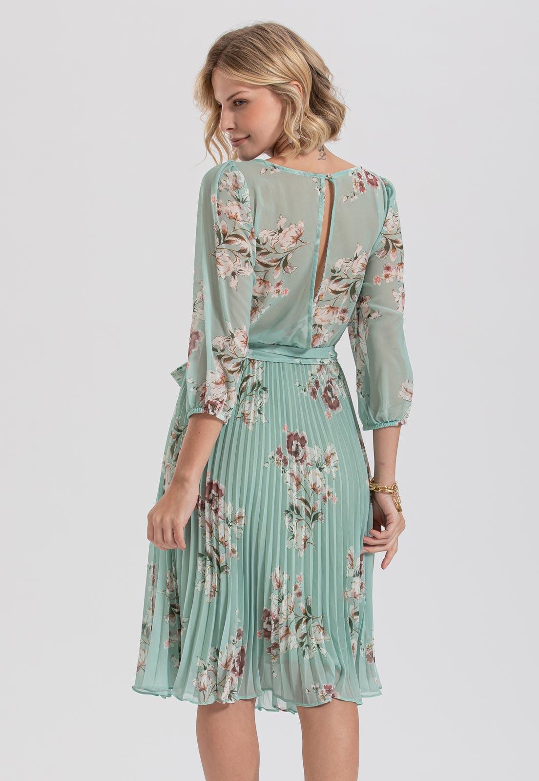 vestido floral azul verde plissado