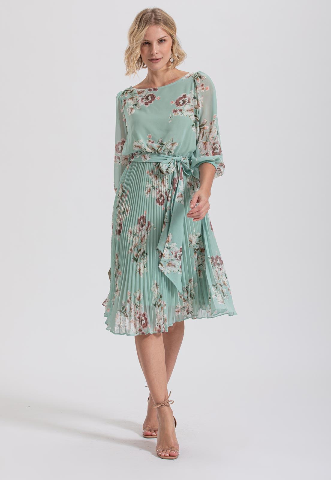 vestido de madrinha floral  verde
