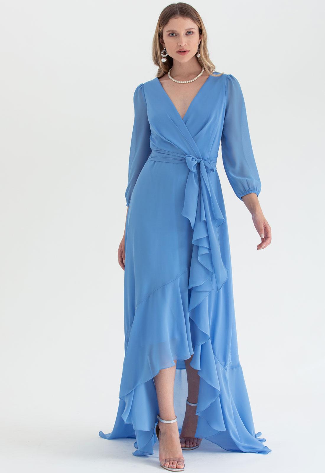Vestido transpassado mullet Azul Serenity forte - Ref. 2543L