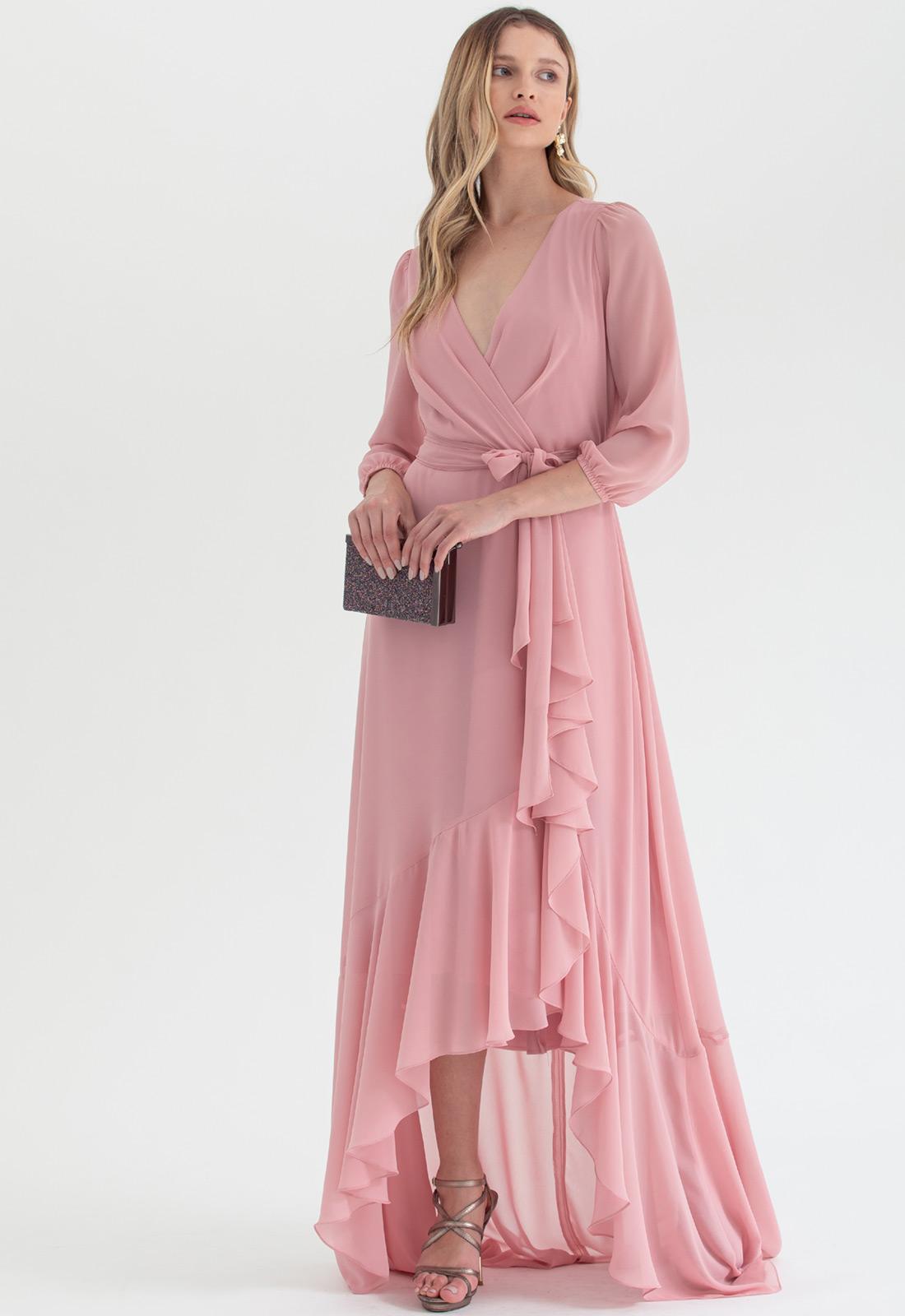 Vestido transpassado mullet Rose - Ref. 2543L