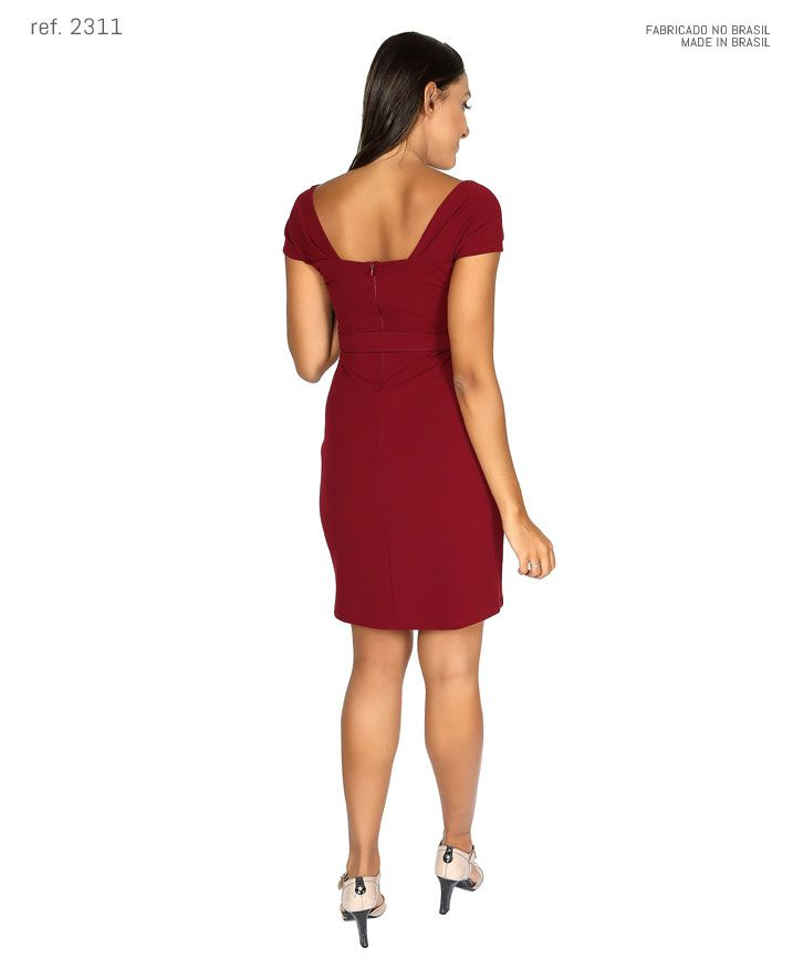 Vestido tubinho curto de crepe com cinto personalizado - Ref. 2311