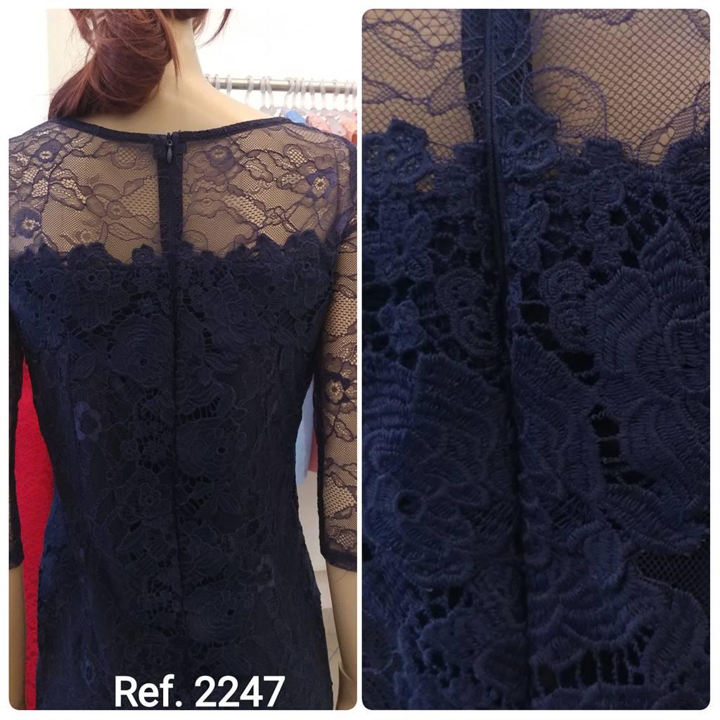 Vestido tubinho curto de guippir manga 3/4 de renda - Ref. 2247