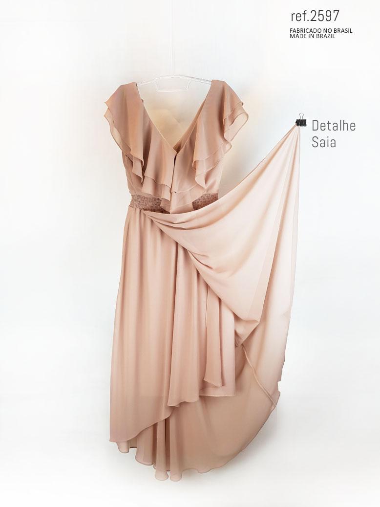 vestido com babado rosê