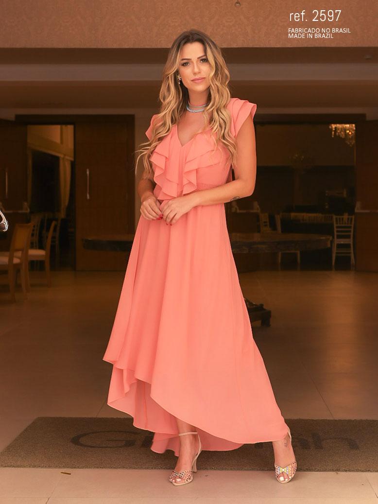 Vestido de festa coral  mullet  ref. 2597