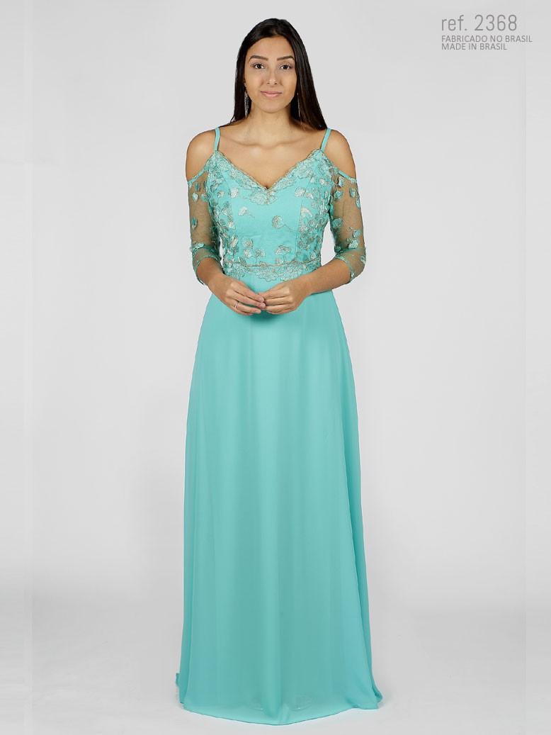 Vestido de festa tiffany  bordado com detalhes dourados - Ref. 2368