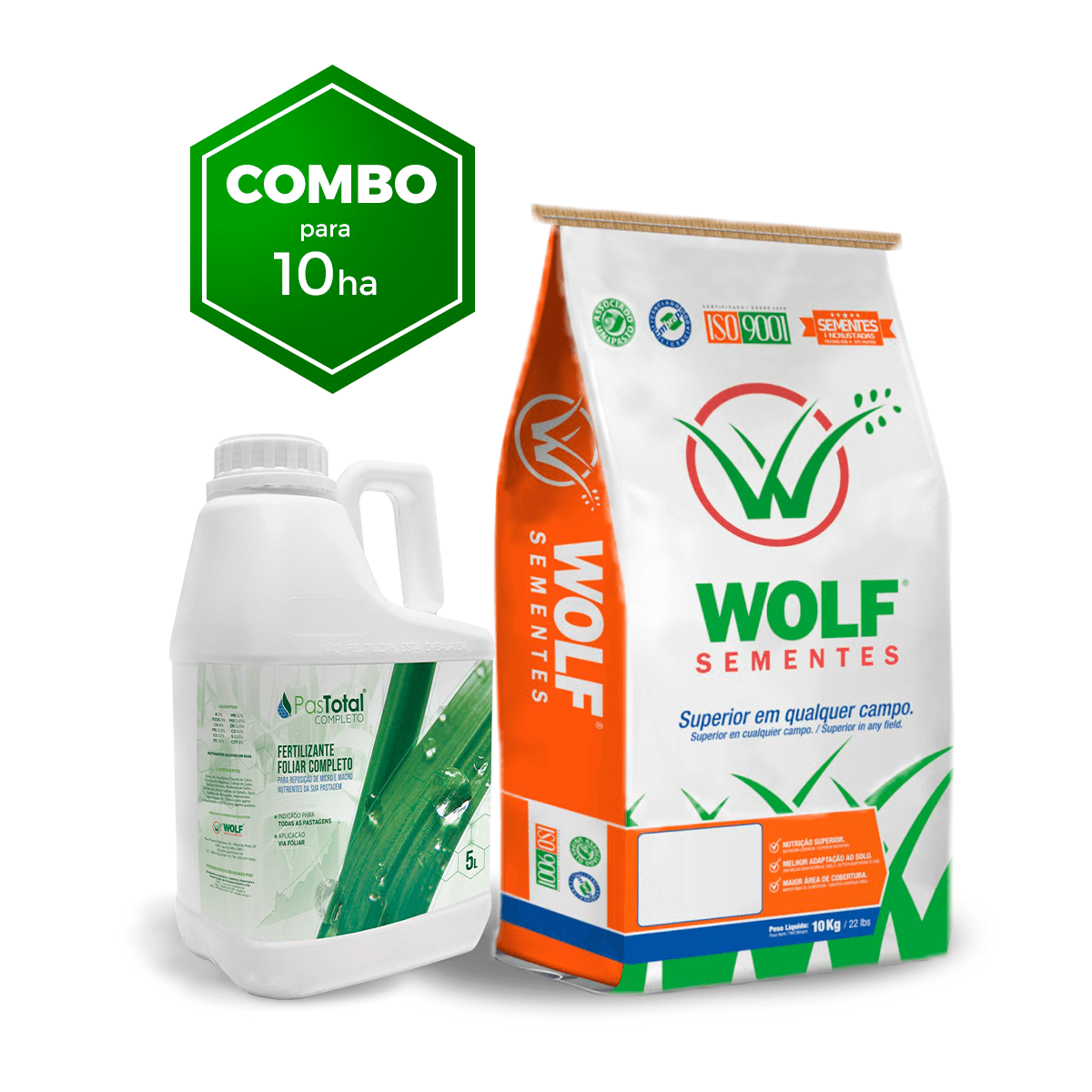 Combo 100kg Mombaça Incrustada + 15L Fertilizante Foliar Pastotal Completo