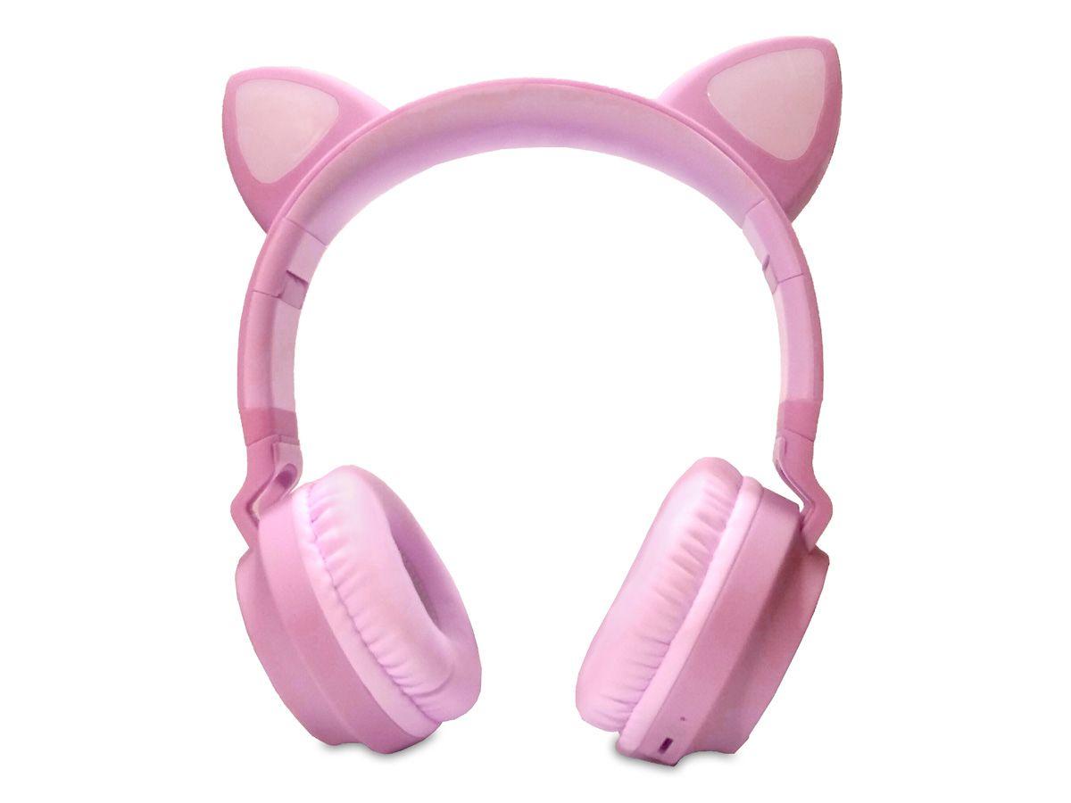 Fone de Ouvido Bluetooth de Gatinho - LED
