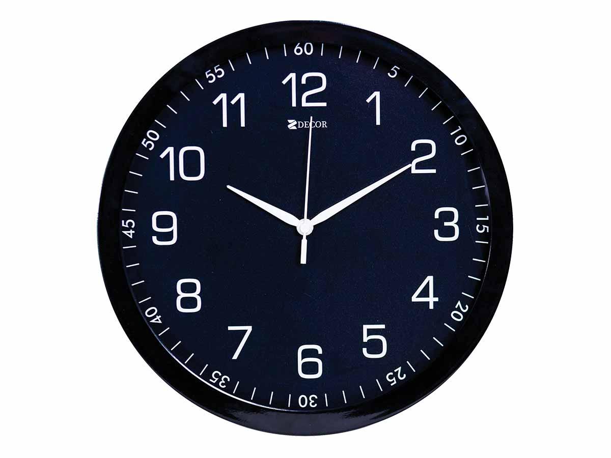 Relógio de Parede Preto 30 cm