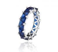 Anel Aliança Azul Safira