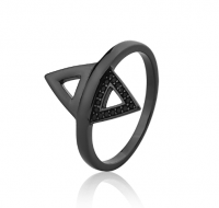 Anel Doble Triângulos Prata 925
