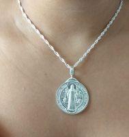 Pingente Medalha de São Bento Grande Prata 925