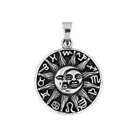 Pingente Medalha Sol e Lua e Signos