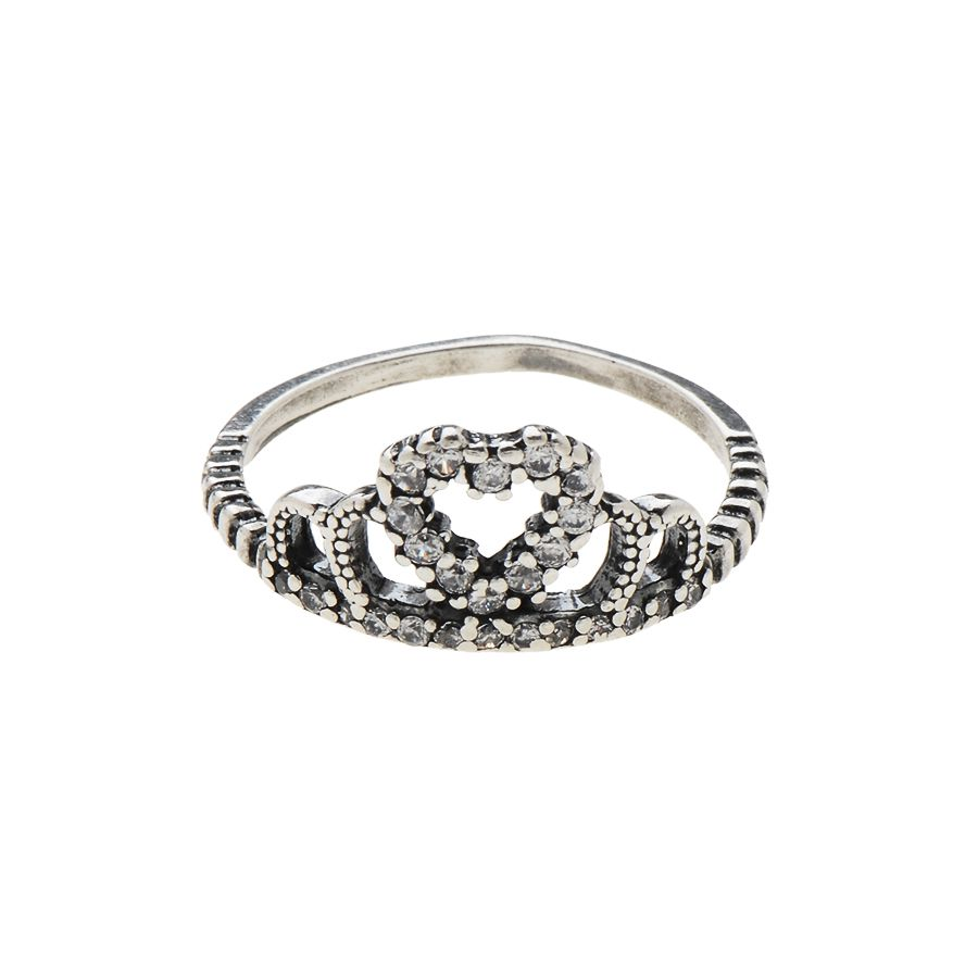 Anel Coroa Coração Cravejado Prata 925