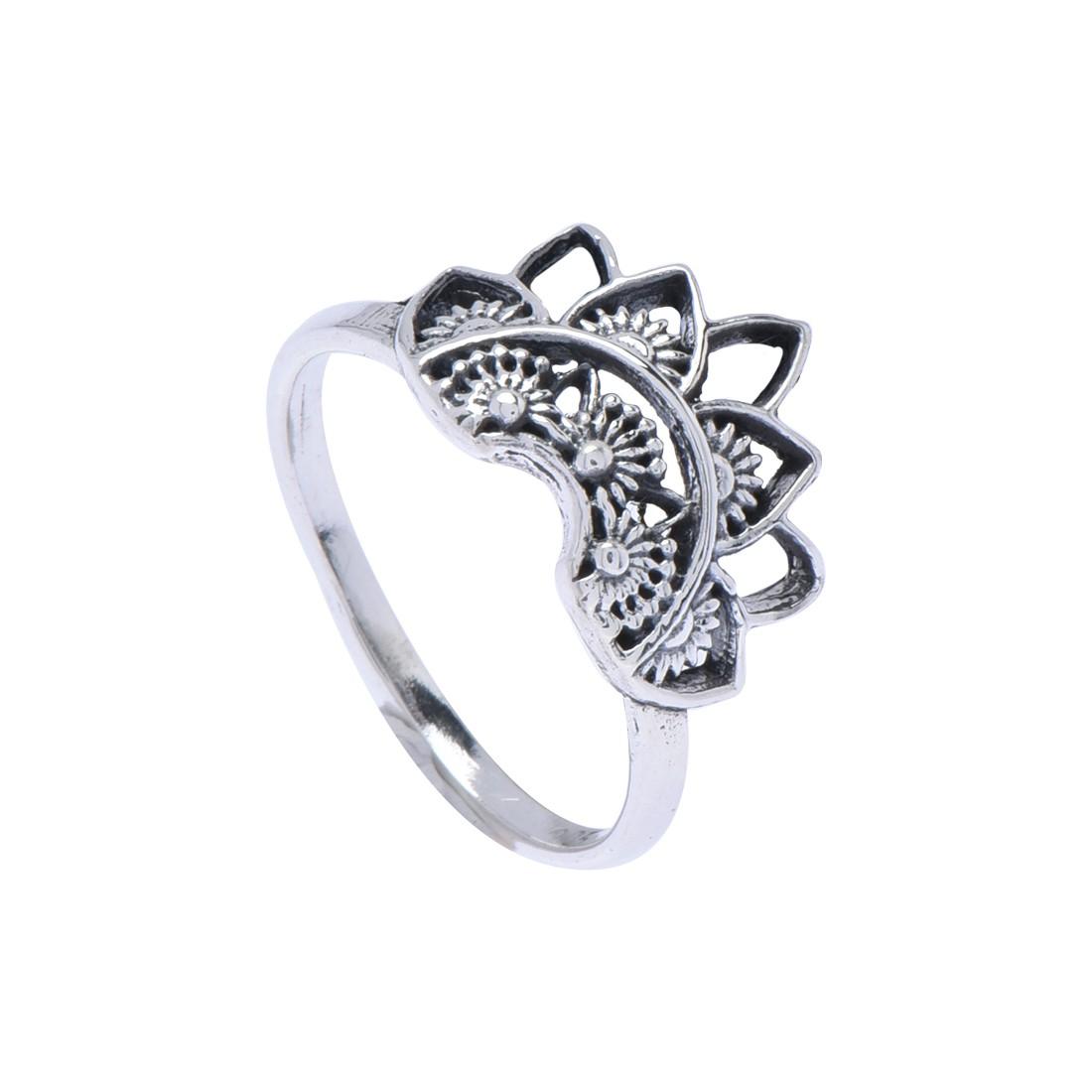 Anel Coroa Mandala Prata 925