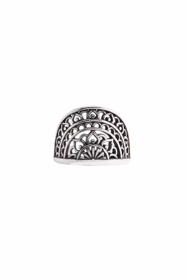 Anel falange regulável meia mandala prata 925