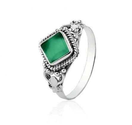 Anel Jade Verde Quadrado Prata 925