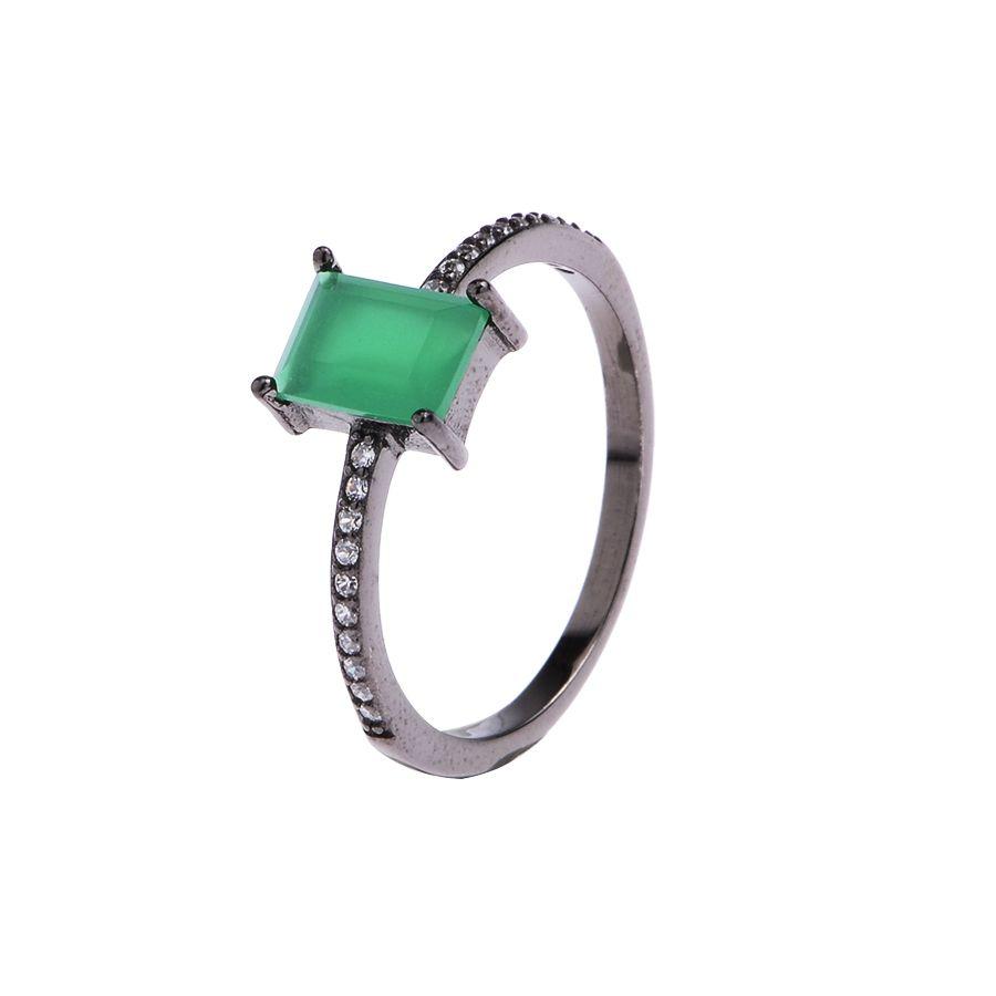 Anel Solitário Verde Esmeralda Prata 925