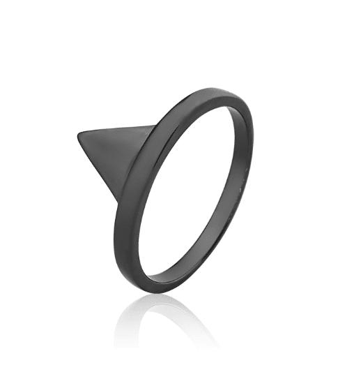 Anel Triangulo Ródio Negro