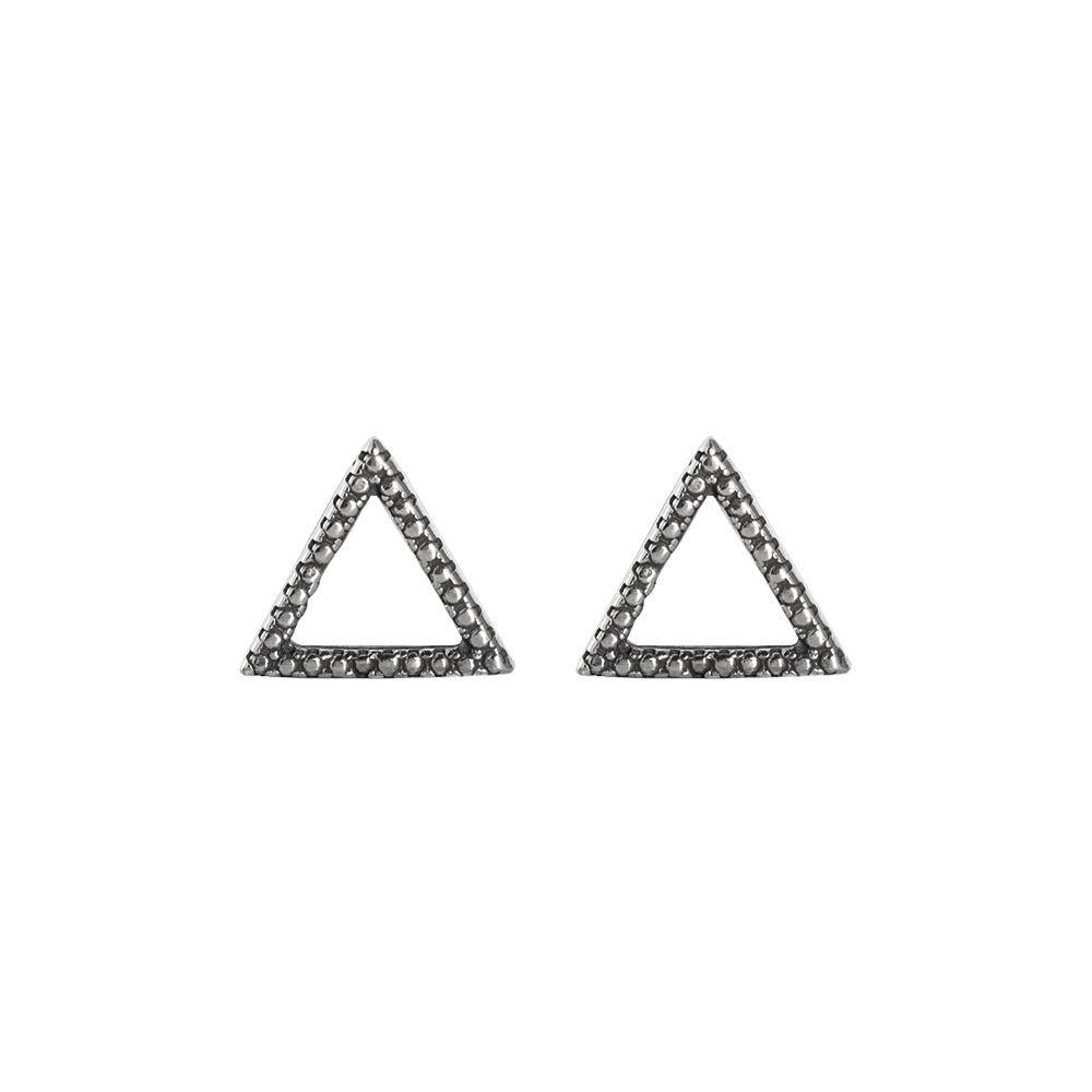 Brinco Triângulo Trabalhado Prata 925