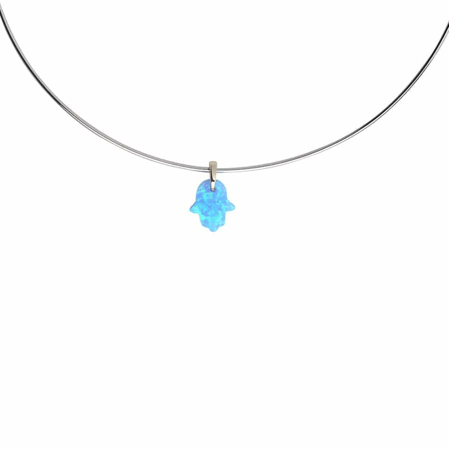 Choker Hamsá Opala Azul