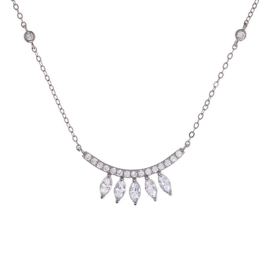 Corrente cristais em navete em prata 925