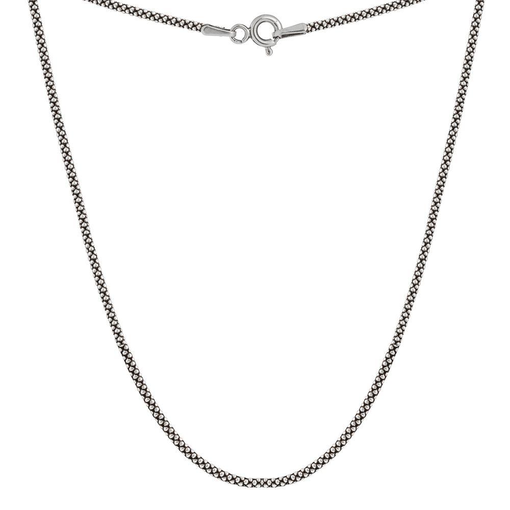 Corrente Pipoca Grossa 80 cm Prata 925 Envelhecida