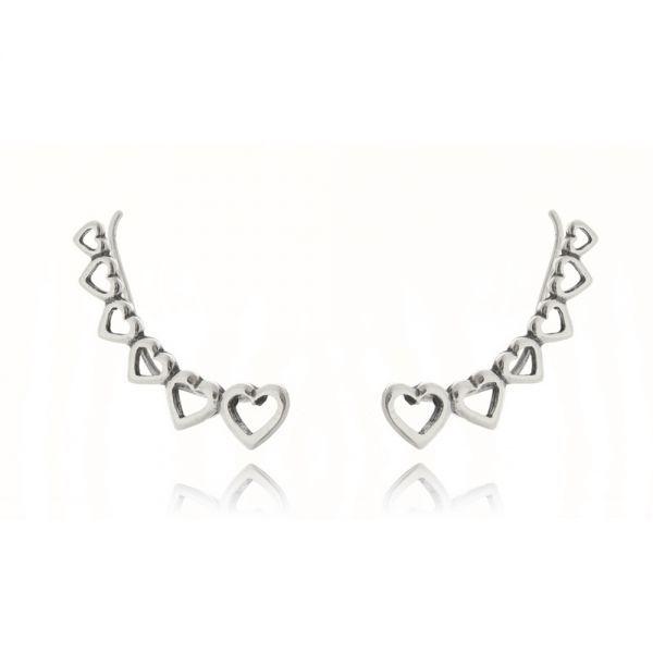 Ear Cuff corações prata 925