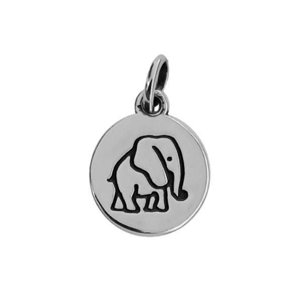 Pingente Plaquinha Elefante Prata 925