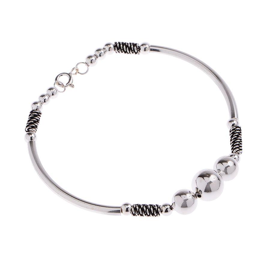 Pulseira bracelete canutilhos curvos e bolas prata 925