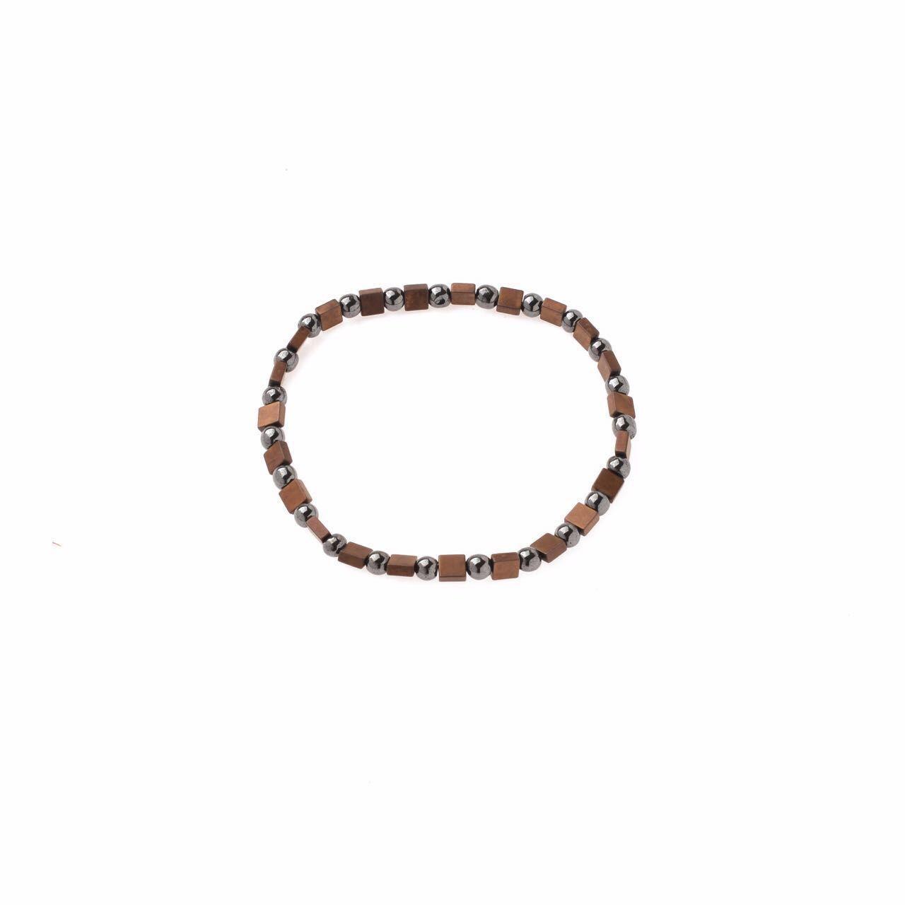 Pulseira Hematitas e Quadradinhos Bronze