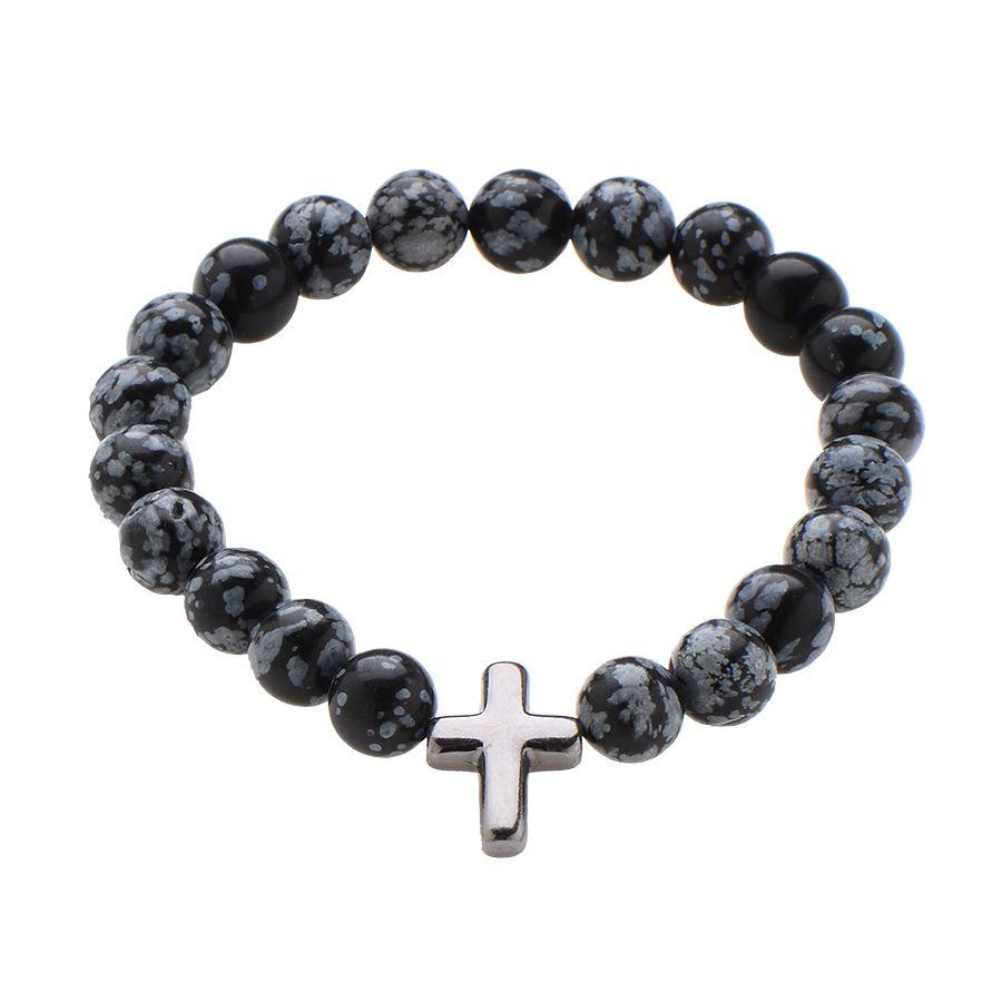 Pulseira Obsidiana e Cruz Metal