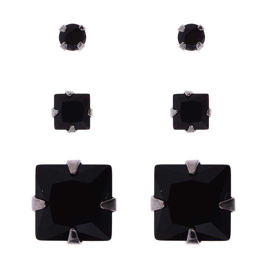 Trio brincos ônix quadrada ródio negro