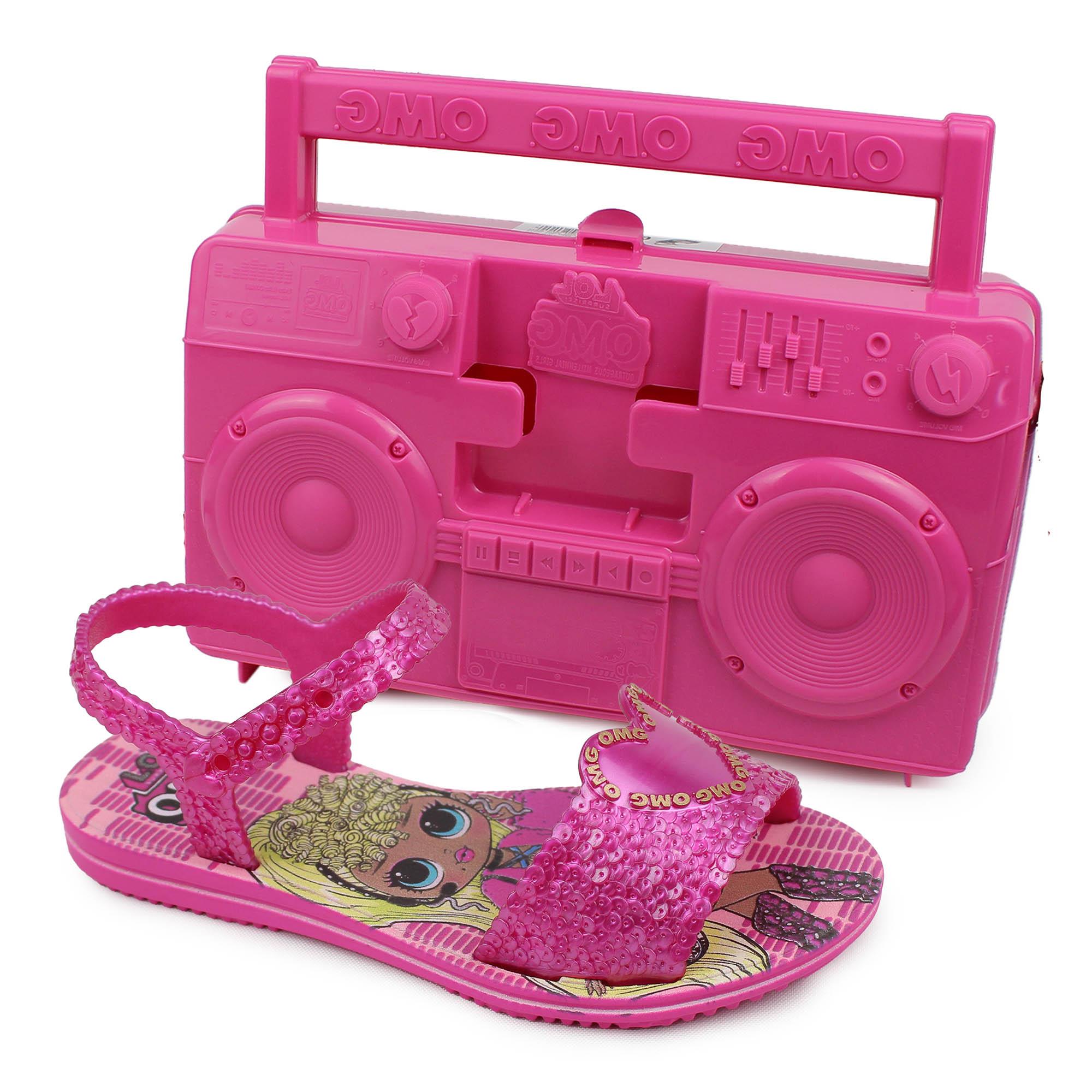 Sandália Infantil Grendene Kids LOL OMG + Maleta Boombox